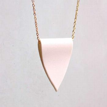 Porcelain Pendant Necklace - White Crest and Gold Chain Necklace - Simple Unglazed Ceramic Charm by