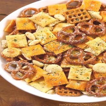 Ranch Chex Mix made for a crowd. My favorite snack mix is loaded with peanuts, c...