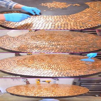 Resin Table Top With Pennies , Pennies Table Top resin table top with pennies * pennies table top ,