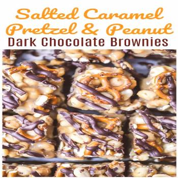 Salted Caramel Pretzel & Peanut Dark Chocolate Brownies Kick-off! This is where chocolate drizzles,