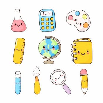 Set of cute funny school supplies kawaii style. calculator, magnifier, pens, brush, ruler, notebook