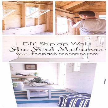 She Shed: DIY Shiplap Walls - Finding Silver Pennies#diy