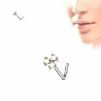 Spikes L-bend nose piercing with trio of coloured opal gems - Turquoise -  Spikes L-bend nose pierc
