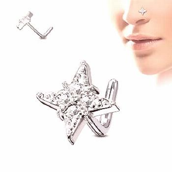 Spikes Nose piercing with jewel adorned star shaped stud -  Spikes Nose piercing with jewel adorned