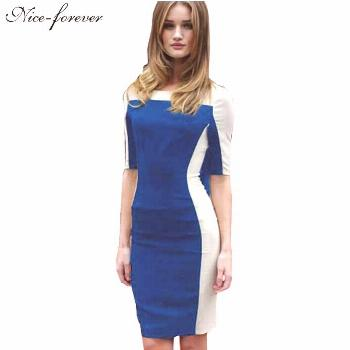 Spring 2016 Illusion Pencil dress Women Patchwork Vintage Tunic Pinup Shift business Half Sleeve Sh
