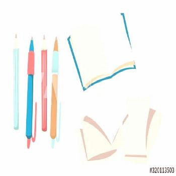 Stationery, open book, pencils and pens, blank pages. Vector illustration ,