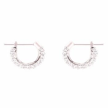 Swarovski Stone Small Pierced Hoop Earrings - Silver/Crystal