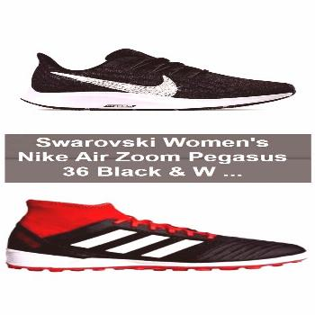 Swarovski Women's Nike Air Zoom Pegasus 36 Black & White Sneakers Blinged Out With Clear Swar... Sw