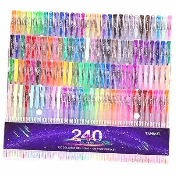 Tanmit 240 Gel Pens Set 120 Colored Gel Pen plus 120 Refills for Adults