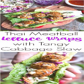 Thai Meatball Lettuce Wraps with Tangy Cabbage Slaw @theforkedspoon