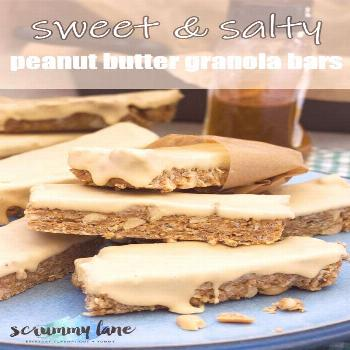 These no bake sweet & salty peanut butter granola bars are packed with peanut-y flavour, and dipped