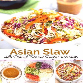 This Asian Slaw is crispy, crunchy and tossed in the most flavorful Peanut Sesame Ginger Dressing.