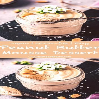 This super easy creamy vegan peanut butter mousse recipe is naturally sweetened, light and fluffy,