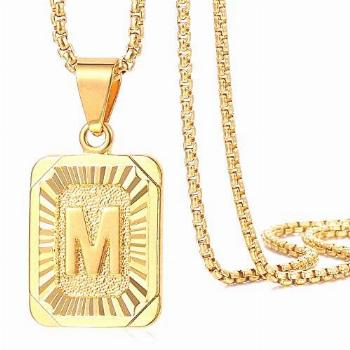 Trendsmax Initial Letter Pendant Necklace for Mens Womens