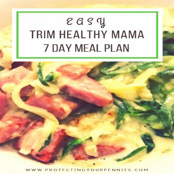 Trim Healthy Mama Weekly Meal Plan 1 - Protecting Your Pennies -
