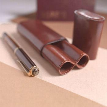 Unique personalized leather pen case for two pens, mens valentines day gifts, leather sleeve, teach