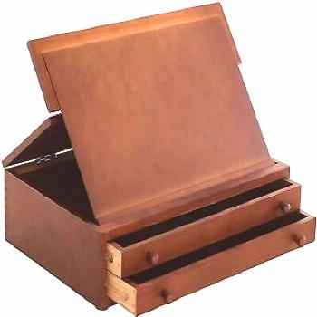 Us Art Supply Walnut 2-Drawer Adjustable Wooden Storage Box With Fold Up Solid D
