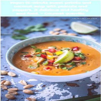 Vegan 15-minute sweet potato and coconut soup with peanuts and peppers. A delicious and healthy 1.
