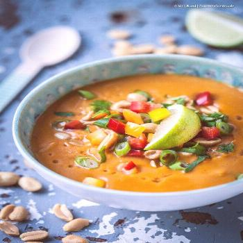 Vegan 15-minute sweet potato and coconut soup with peanuts and peppers. A delicious and healthy sou
