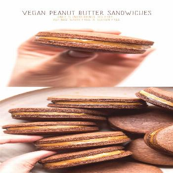 Vegan peanut butter cookie sandwich - Lazy Cat Kitchen