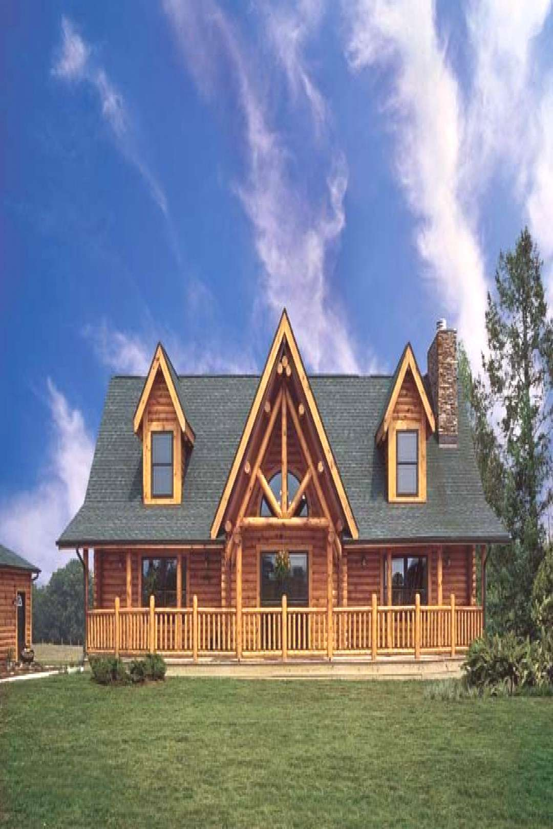 A Small Log Home in Western Rural Pennsylvania - The sizeable gabled front porch on the Benoits'