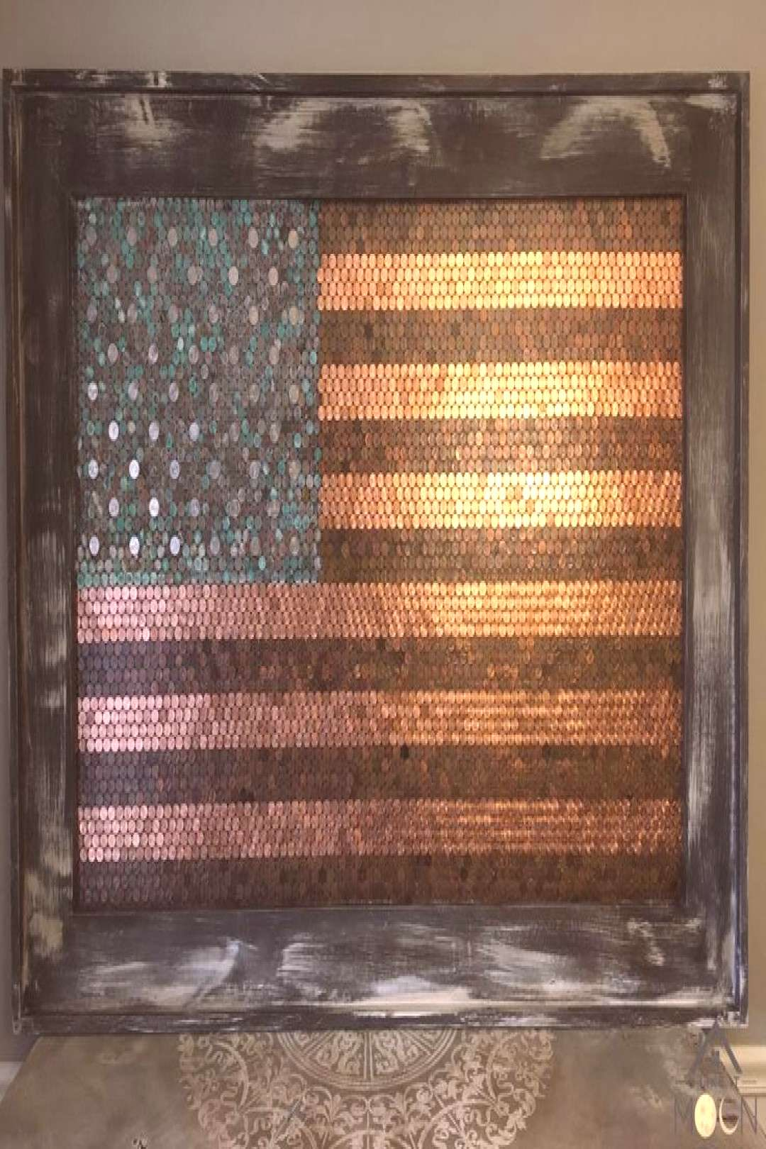American flag made out of pennies -