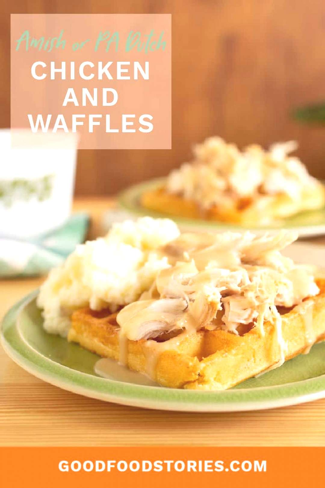 Amish chicken and waffles, also known as PA Dutch chicken and waffles, are made with roast chicken
