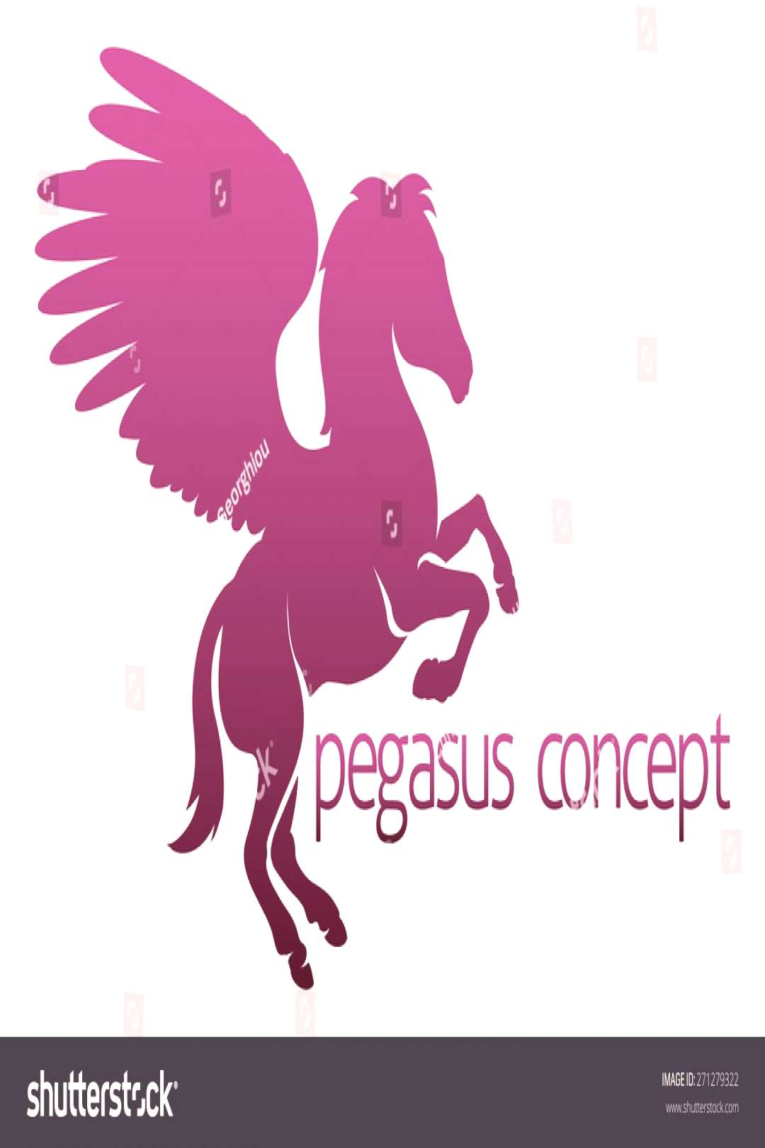 An illustration of an abstract pegasus winged horse concept design ,