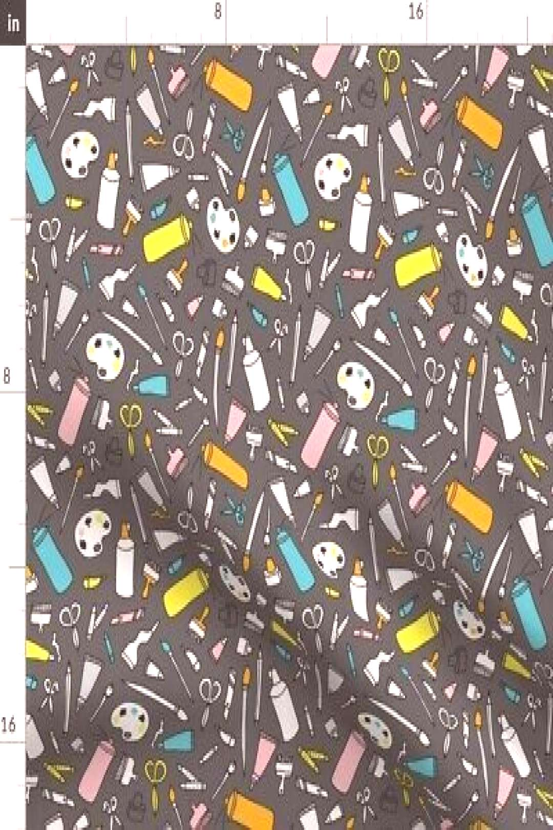 Art Supply Brush Artist Doodle Paint Crayon Fabric Printed by Spoonflower BTY