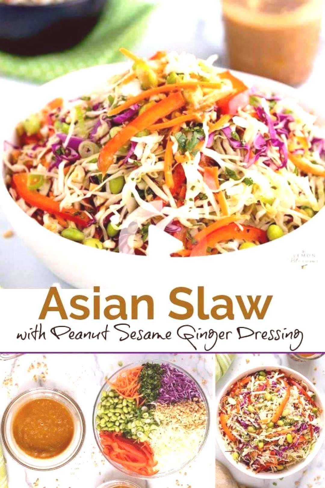 Asian Slaw with Peanut Sesame Ginger Dressing This Asian Slaw is crispy, crunchy and tossed in the