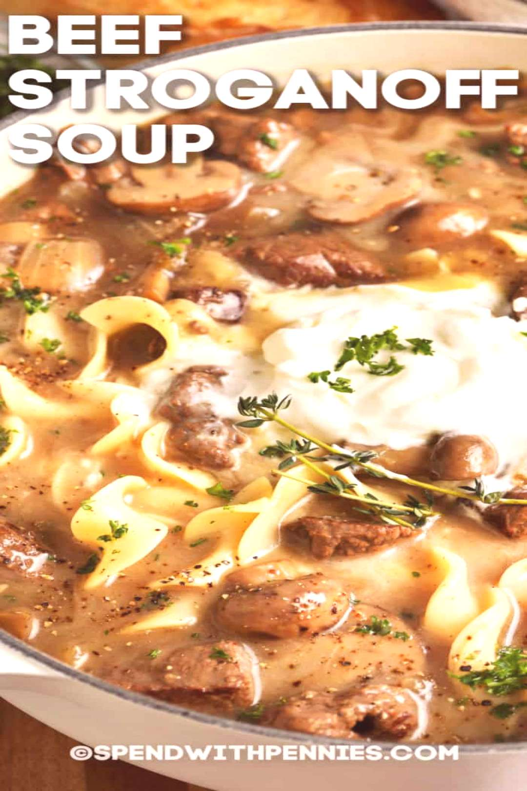Beef Stroganoff Soup Slow Cooker or Stovetop! - Spend With Pennies#beef