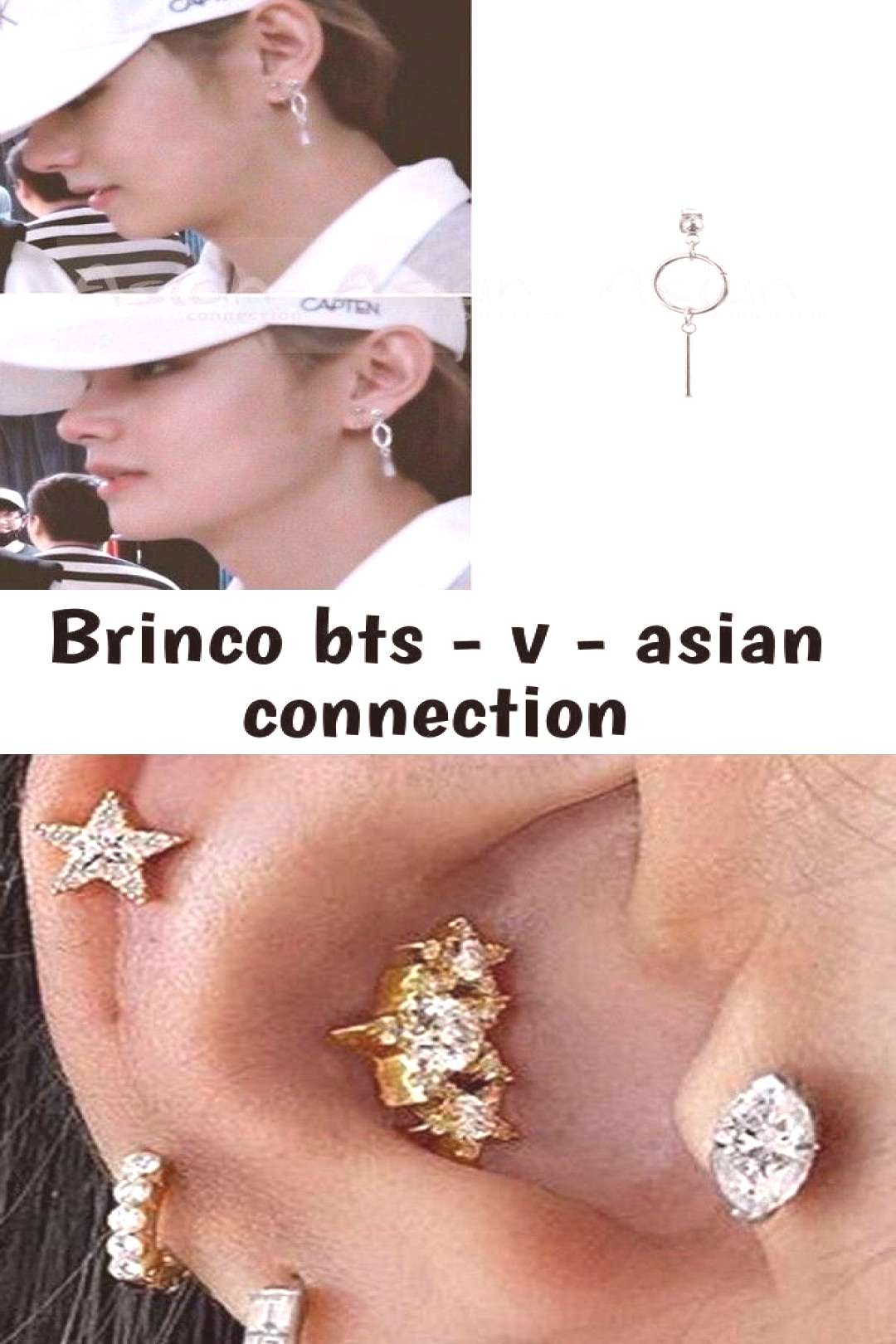 Brinco bts - v - asian connection Brinco BTS - V - Asian Connection cute star flower multiple ear p