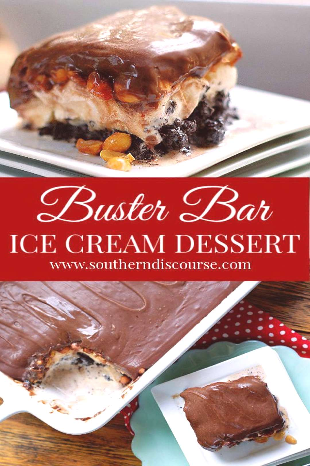 Buster Bar Ice Cream Dessert Loaded with salted peanuts and layer of vanilla ice cream on an easy h