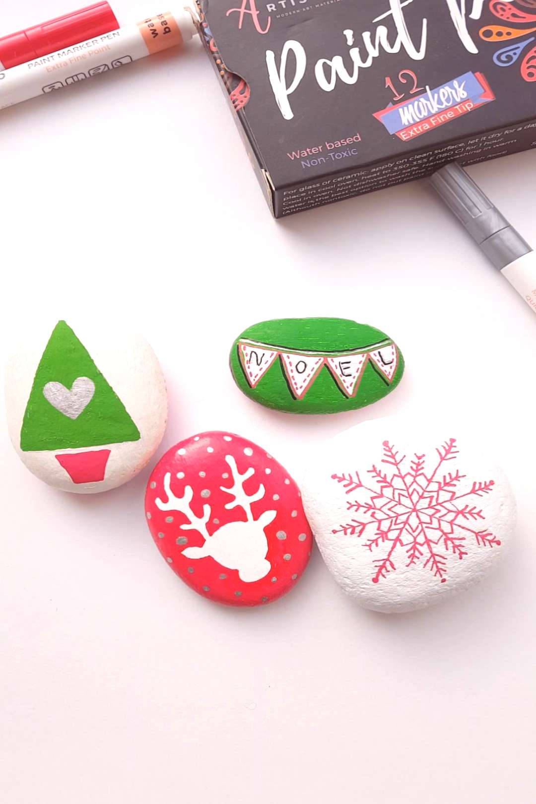 Christmas rock painting with Artistro   - Rock painting with Artistro Paint Pens