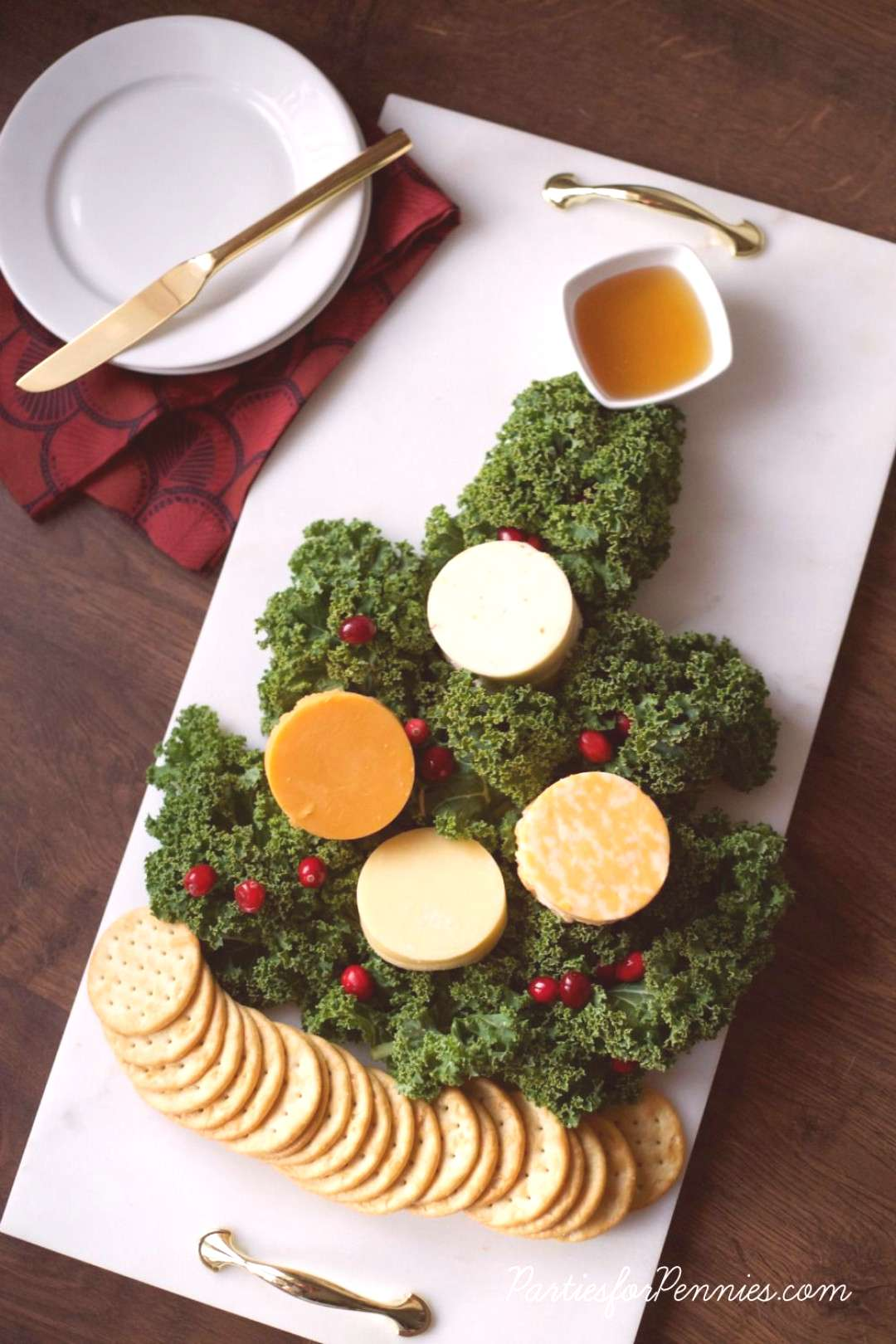 Christmas Tree Cheese Plate - Parties for Pennies - Christmas Tree Cheese Plate by PartiesforPenni
