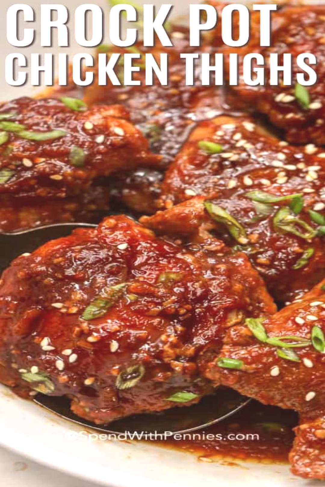 Crock Pot Chicken Thighs Sweet & Spicy Sauce - Spend With Pennies