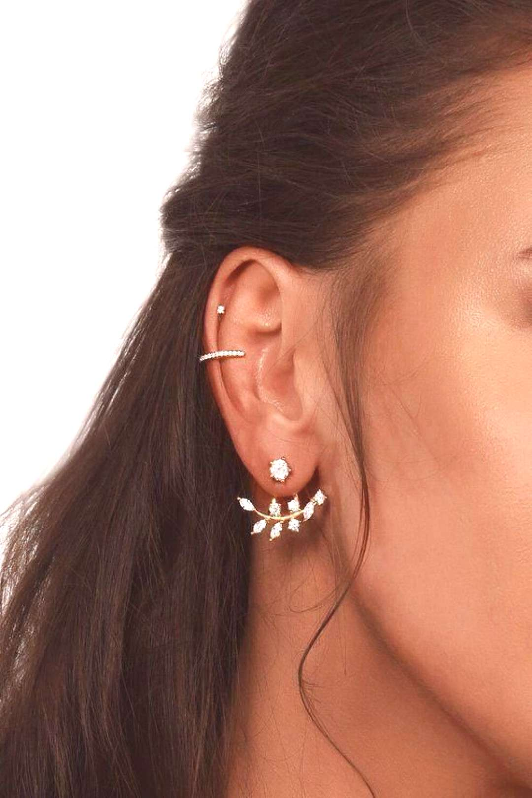 Ear jacket, leaf earrings, jacket earrings, silver earrings, gift ideas
