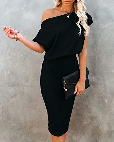 Ezbelle Womens Off The Shoulder Short Sleeve Ribbed Bodycon