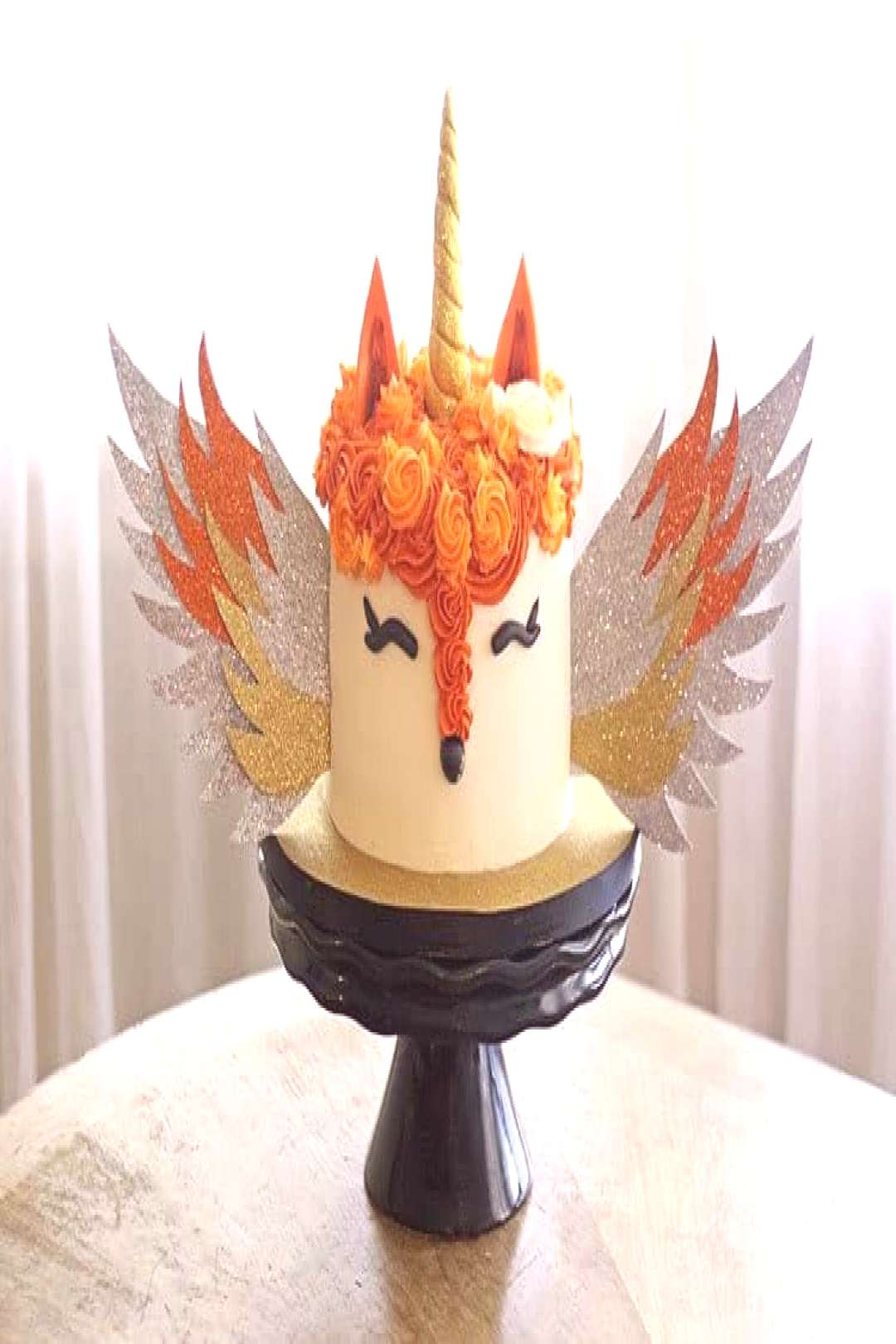 Fox Unicorn Cake with Wings - this unique cake was a fox cake with a unicorn horn and wings.