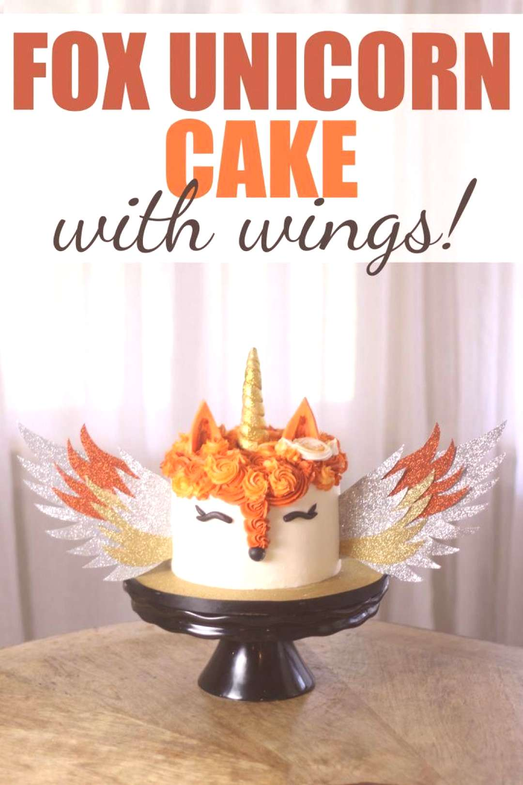 Fox Unicorn Cake with Wings - this unique cake was a fox cake with a unicorn horn and wings. Click