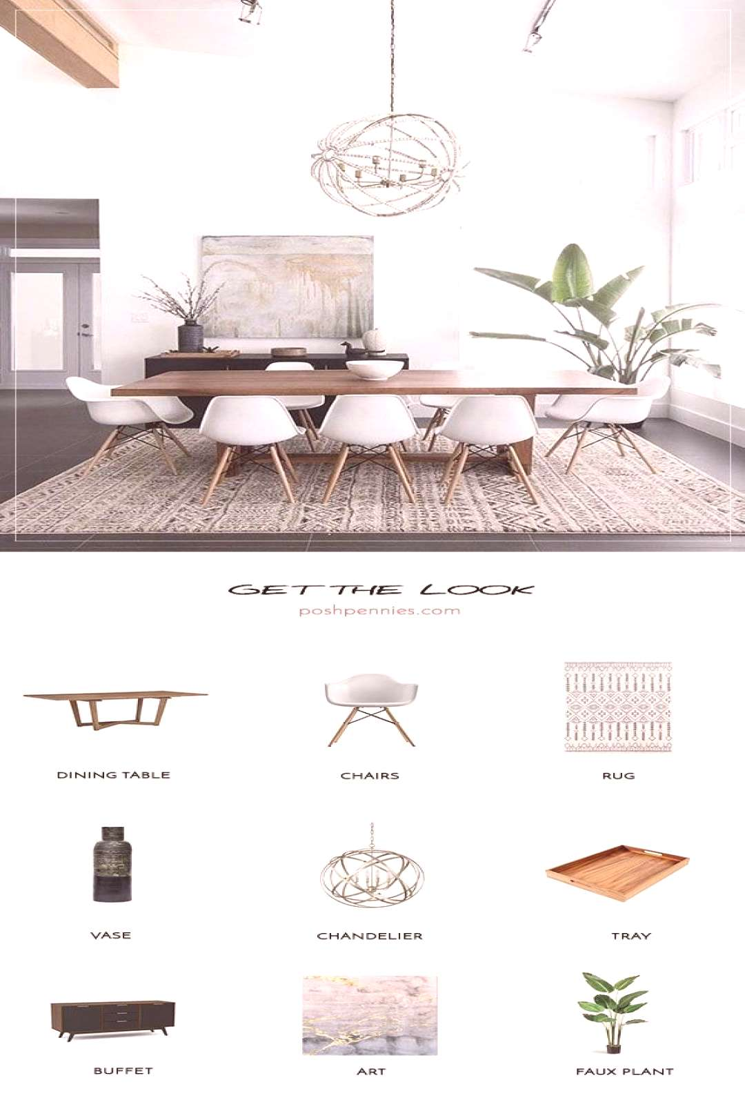 Get The Look: Neutral Minimal Dining Room | Posh Pennies -