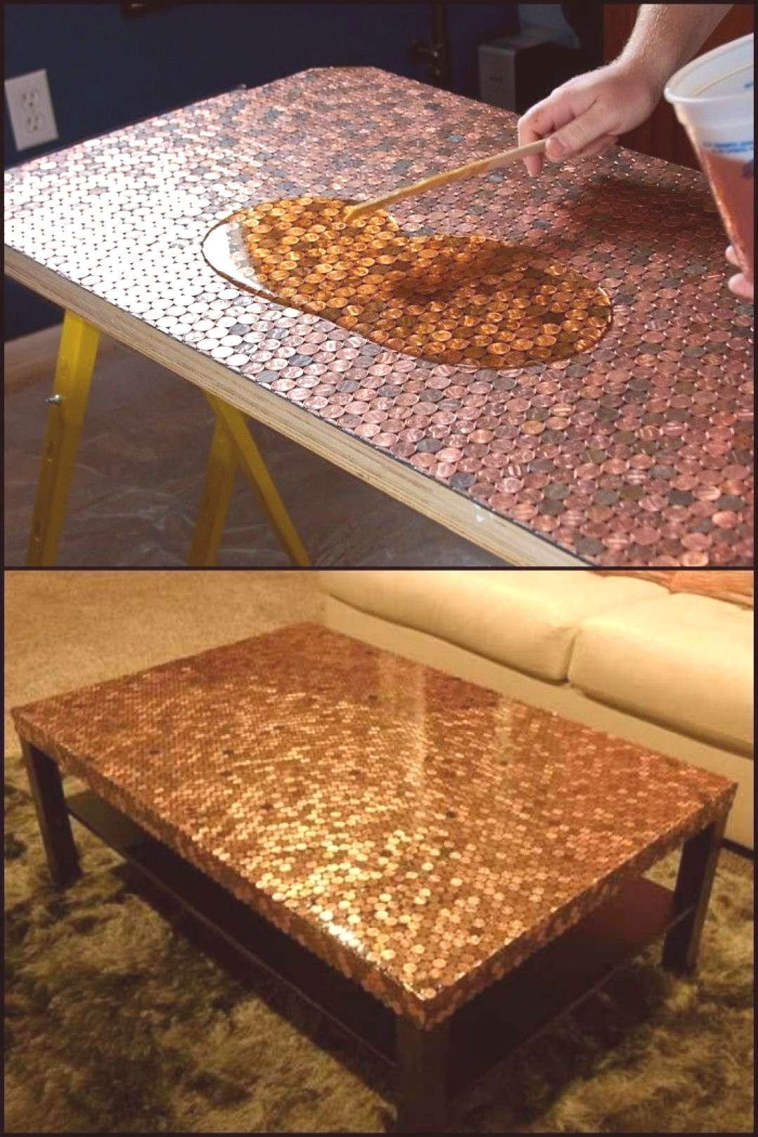 Give your coffee table a makeover with pennies - UPCYCLING IDEAS#coffee
