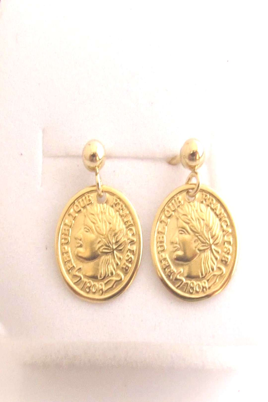 Gold coin stud earrings, Gold filled ball stud earrings, gold disc piercing, Roman coin, ancient, b