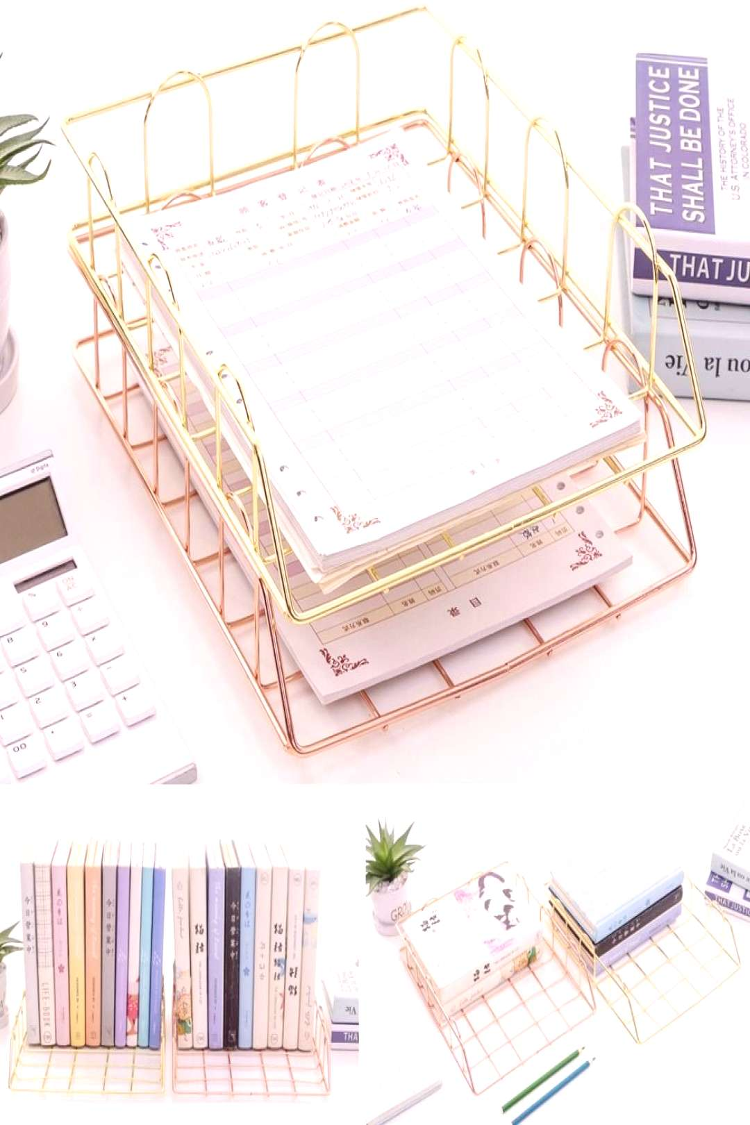 Gold Iron File Holder | Dexy Cute rose and rose gold file folders for your home office