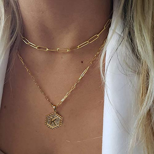 Gold Layering Initial Necklaces for Women, 14K Gold Plated