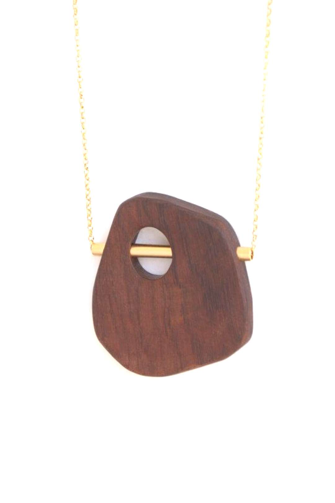 LOOK 1 gold wood pendant necklace and by closeupjewelry on Etsy, $110.00