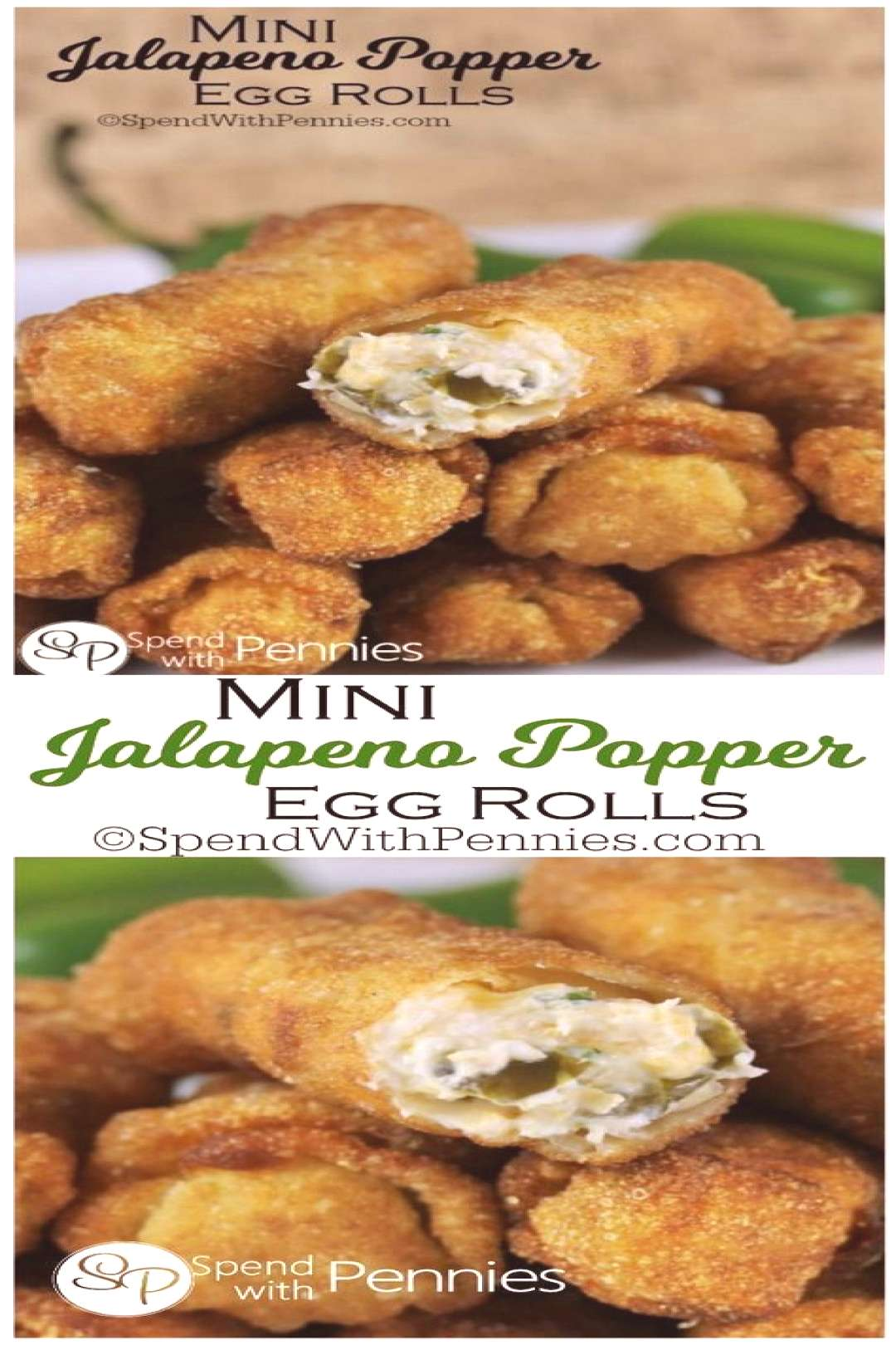 Mini Jalapeno Popper Egg Rolls - Spend With Pennies - Tailgate food -