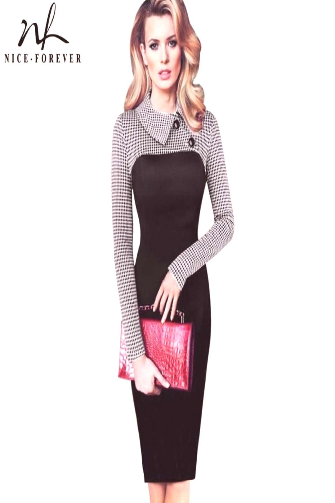 Nice-forever Elegant Vintage Fitted winter dress full Sleeve Patchwork Turn-down Collar Button Busi