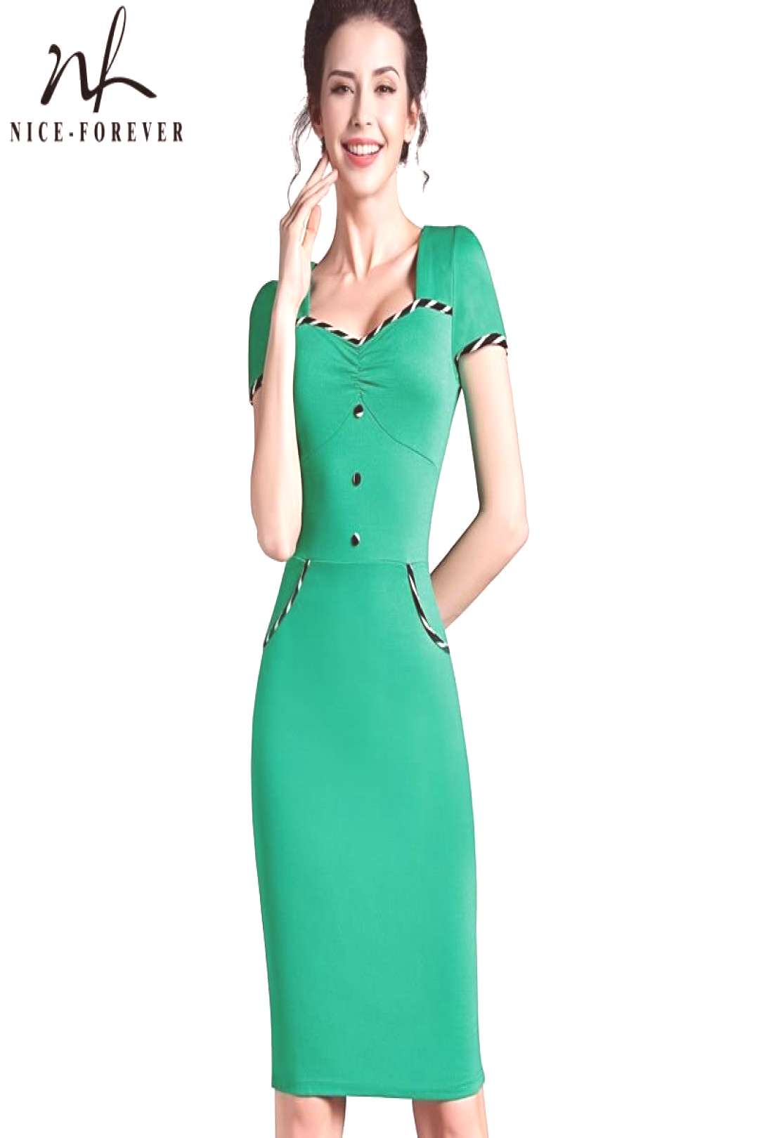 Nice-forever Fitted dress Womens summer Brief Pinup Short Sleeve Square Neck Work Button Bodycon