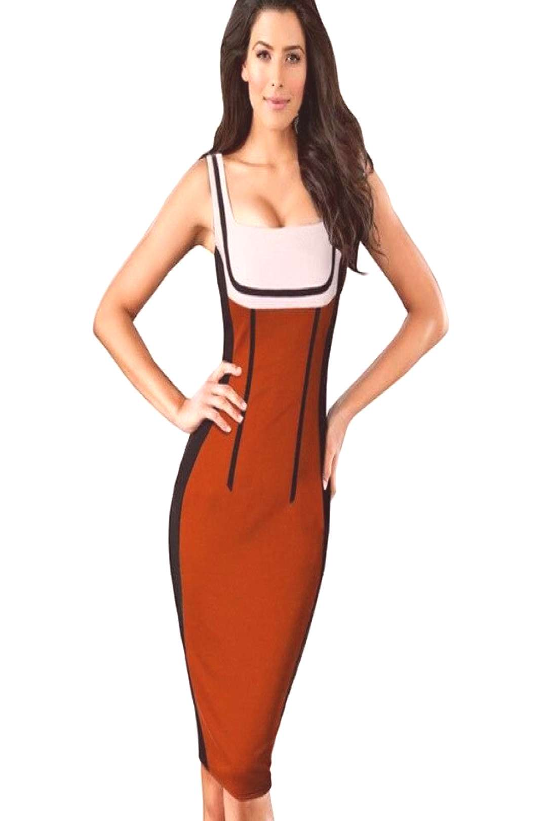 Nice-forever Patchwork spaghetti Strap Fashion dresses Women Summer Optical Illusion Pinup bodycon